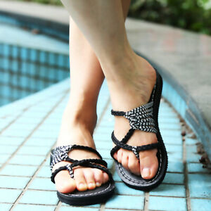 79419d1038fe6 Image is loading Slippers-Beach-Shoes-Fashion-Sandals-Women-Summer-Flip-