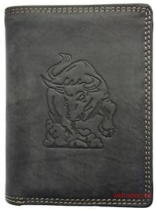 Hochwertige-Geldboerse-Geldbeutel-Portemonnaie-Bueffel-Leder-Stier-gepraegt-Schwarz