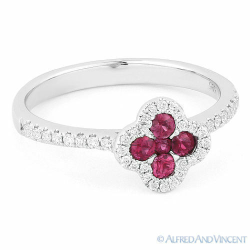 0.43ct Ruby Cluster & Diamond Right-Hand Flower Promise Ring in 14k White gold