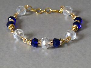 Sapphire Blue & Clear Sparkly Czech Crystals & Sparkle Diamante Beaded Bracelet