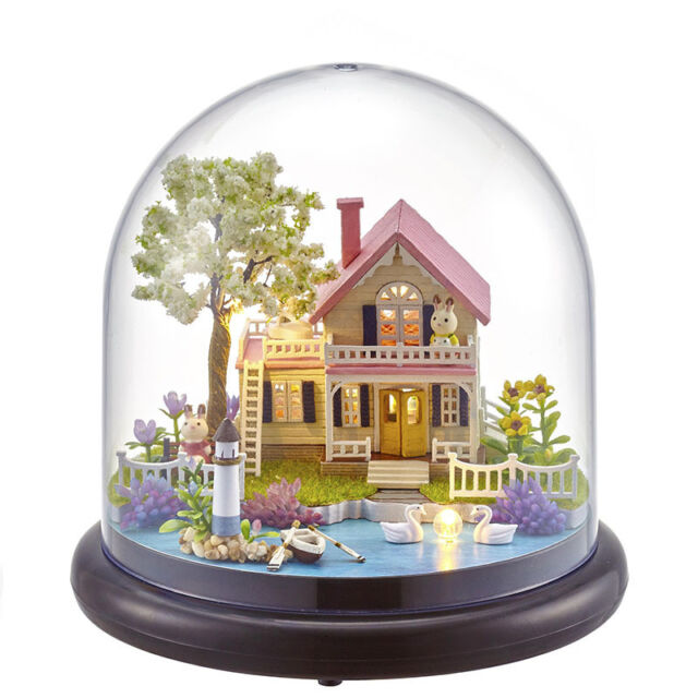 Diy Wooden Dollhouse Kit Miniature Romantic Spring Garden House With Glass Cover