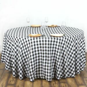 Image Is Loading Black White Checkered 108 034 ROUND Polyester Tablecloth