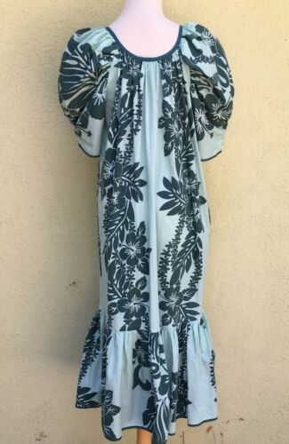 Hawaiian Aloha Dress Butterfly Sleeves 1950s Sz L