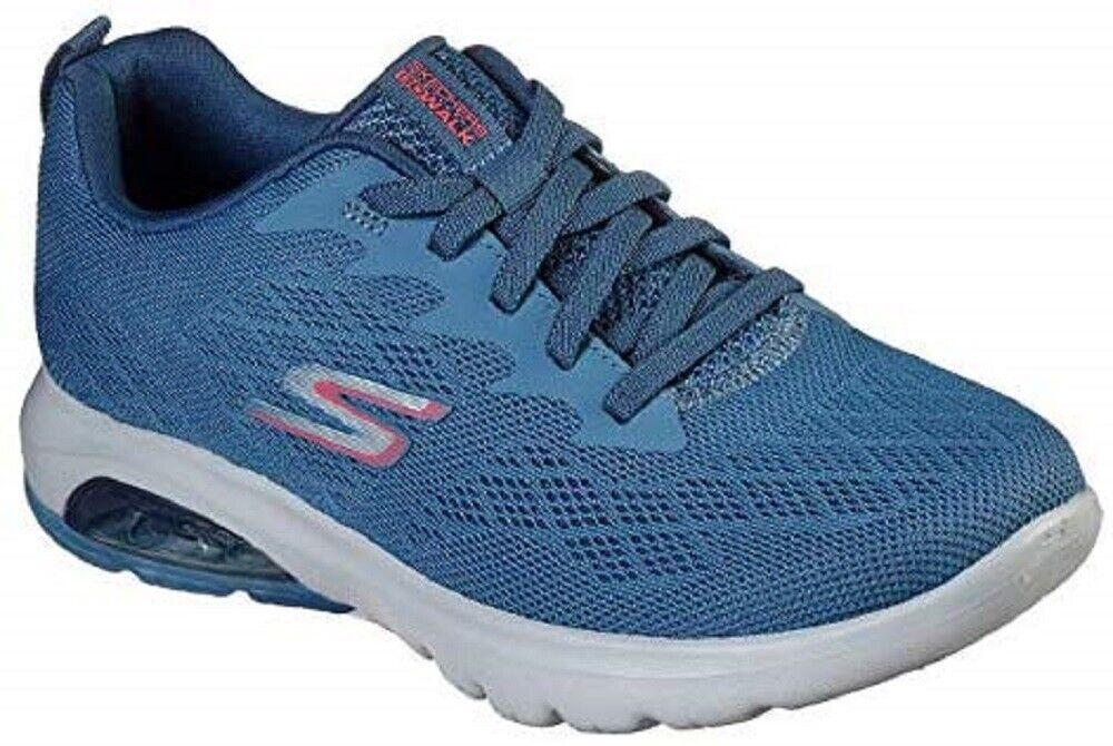 Damen Skechers Go Walk Luft Windkühle Turnschuhe-16098-Blau Koralle Brandneu