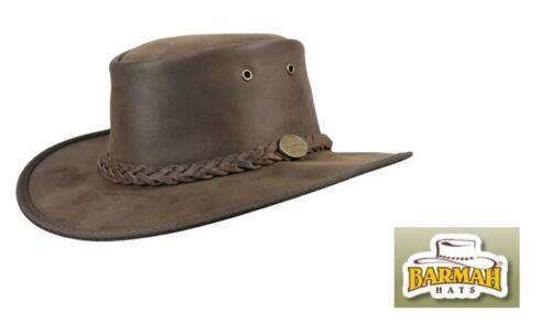 Barmah Bronco transformable 1060 en cuir marron australian bush hat