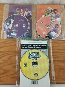 Pc Gaming Bundle of 3 No Cases, Sims 2, Open For Business, Sim2 Nightlife, Teen