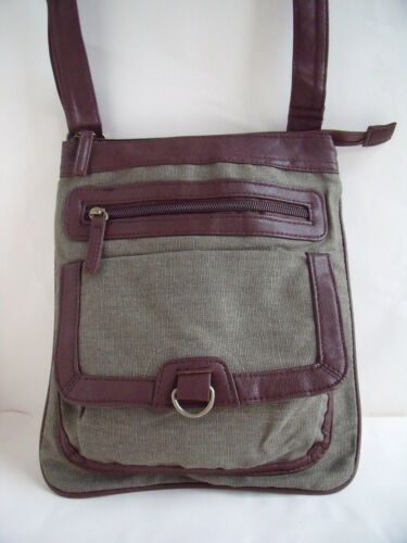 New Over Body Messenger Bag in Canvas with Brown Leatherette Trim in Green