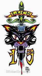 Mini-Size-Alan-Forbes-Sticker-Decal-Luck-13-Cat-AF2B
