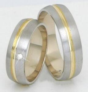 Brillant-Eheringe-Trauringe-585-Gold-14-Kt-Gelb-amp-Weissgold-Massiv-neu