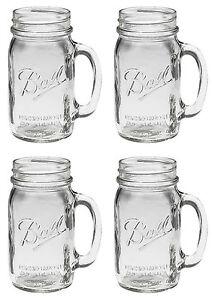 ... Set 4 Large BALL MASON 24 oz Drinking Glasses Jars with Handles   eBay