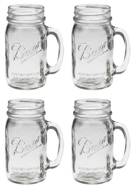 Bridal Wedding Set 4 Large BALL MASON 24 oz Drinking Glasses Jars with Handles