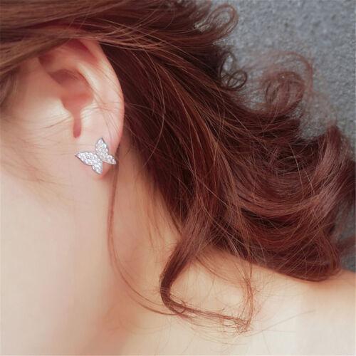 Femmes Chic Strass Papillon Goutte Long Tassel Dangle Drop Ear Stud Boucle d/'oreille MP
