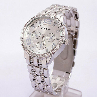 Geneva Unisex Women Bling Stainless Steel Silver Round Crystal Wrist Watch Gift