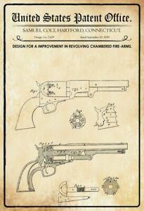 US-Patent-Colt-Revolver-1850-Blechschild-Schild-gewolbt-Tin-Sign-20-x-30-cm