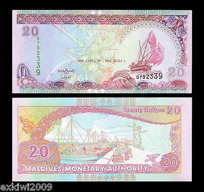 Maldives 20 Rufiyaa 2008 P-20c Mint UNC Uncirculated Banknote