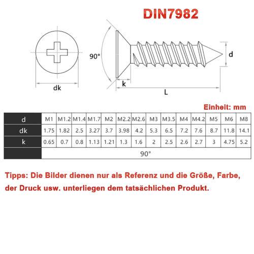 Blechschrauben DIN 7982 Edelstahl VA V2A Kreuz Senkkopf M1,0 M1,2 M1,4 Bis M8