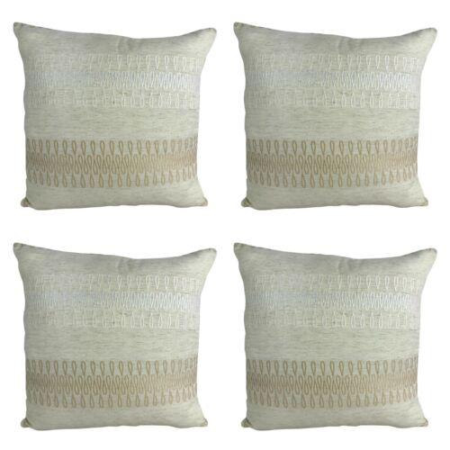 """X4 Filled Coussins De Luxe Beige avec belle or//blanc détails 18x18/""""//45 cm"""