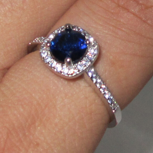 Size 5-11 Handmade Womens Silver Blue CZ  Wedding Engagement Ring Free Shipping