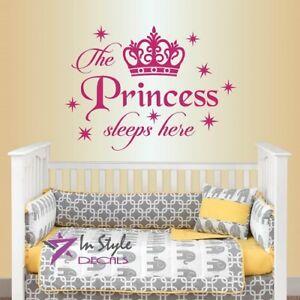 Details about Vinyl Decal Princess Sleeps Here Crown Girls Nursery Kids  Room Wall Sticker 1660