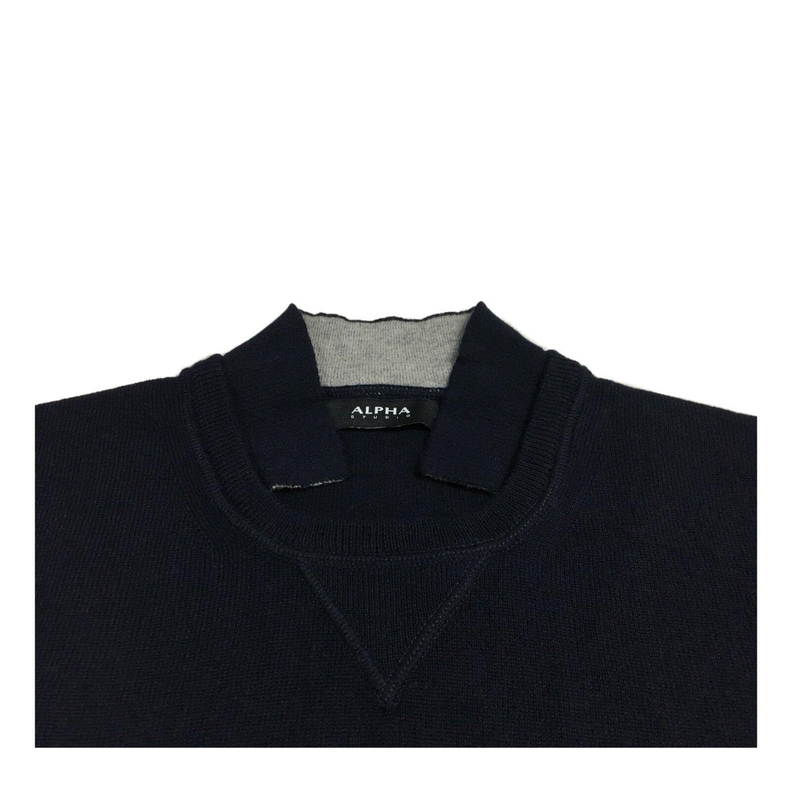 ALPHA  STUDIO maglia  ALPHA  girocollo taglio felpa slim lana/cashmere mod AU-6203C 28c1e7