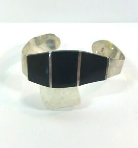 Vintage-Sterling-Silver-Bracelet-Black-Onyx-Inlay-Wave-Modern-Wide-Abstract-925