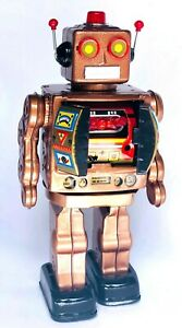 MACHINE-GUN-CLASSIC-RETRO-SILVER-TIN-TOY-D-CELL-ROBOT-ELECTRON-ROTATE-O-MATIC