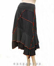 Jupe BREAL marron T 44 / XL / 5 volant asymétrique Liseré Orange TBE Skirt Rock