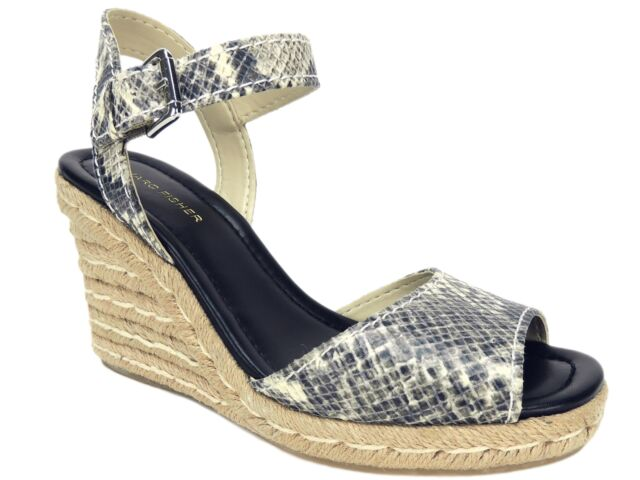3b1460456 Marc Fisher Women's Maiseey Espadrille Wedge Sandals White Snake Size 8.5 M  for sale online | eBay