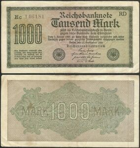 GERMANY-1000-mark-1922-P-76d-Europe-banknote-Edelweiss-Coins