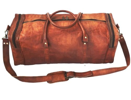 "24/""New Large Vintage Men Real Leather Tote Luggage Bag Travel Bag Duffle Gym Bag"
