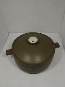 Denby-England-Camelot-Chevron-Covered-Casserole-Vintage-Stoneware-8-034-x-4-034