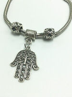 Fashion Vintage Tibetan Silver Hand Charm Bracelet Chain Bangle With Beads New