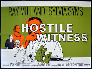 HOSTILE-WITNESS-1968-Ray-Milland-Sylvia-Syms-Felix-Aylmer-UK-QUAD-POSTER