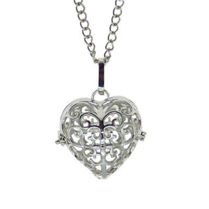 1x-Silver-Hollow-Love-Heart-Metal-Alloy-Locket-Pearl-Cage-Charm-Necklace-Gifts