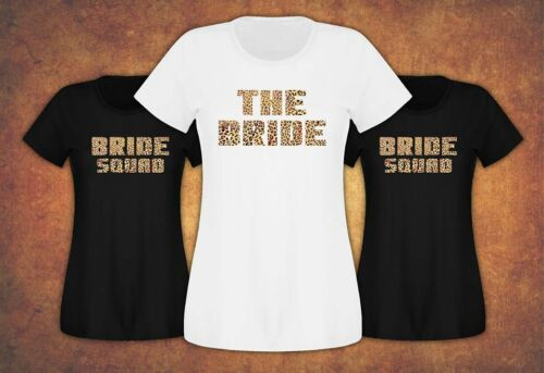 Bride Tribe Squad Fast and Free Hen Do Party  2019 T-shirt Ladies Female Leopard