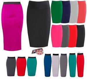 Womens-High-Waisted-Jersey-Knee-Length-Bodycon-Tube-Stretch-Pencil-Midi-Skirt-wg