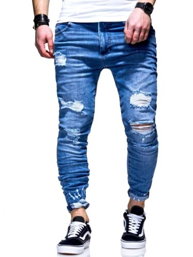 Behype Uomo Jeans Jeans A Sigaretta destroyed Pantaloni Chino Blu Nuovo
