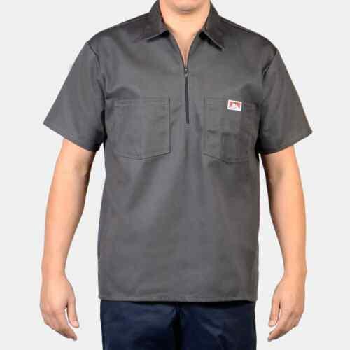 Ben Davis Men/'s Short Sleeve Solid Color Cotton Blend Pockets 1//2 Zip Shirt