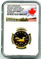 2016 CANADA SILVER PROOF LOONIE DOLLAR NGC PF70 UCAM .9999 FINE GILT GOLD LOON