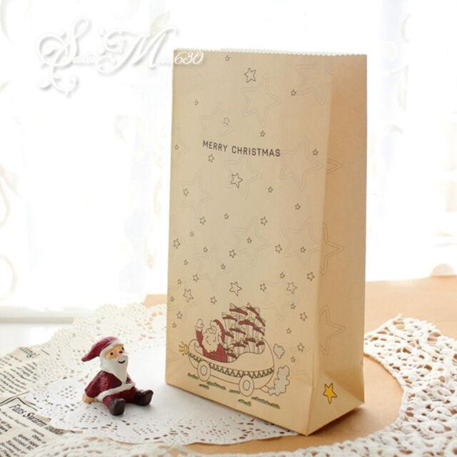 8 Pcs Kraft Paper Christmas Gift Bags Xmas Party Cookies Present