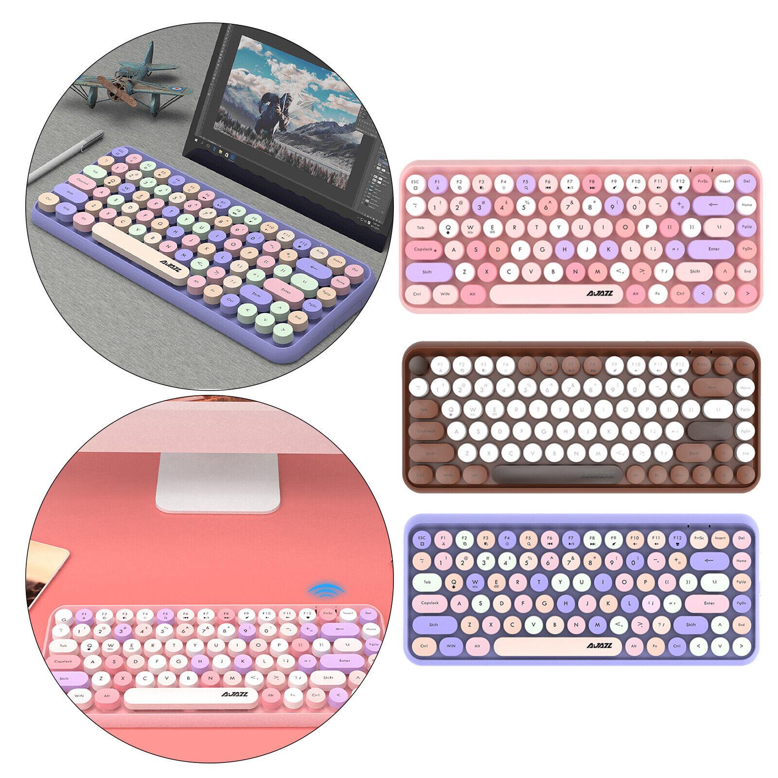 Mini 84-Key Round Keycaps Wireless Bluetooth Keyboard Portable Durable
