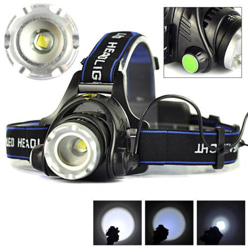 1200Lm XM-L T6 LED Zoomable Linterna Cabeza Luz Frontal LÁMPARA 2X18650 Cargador
