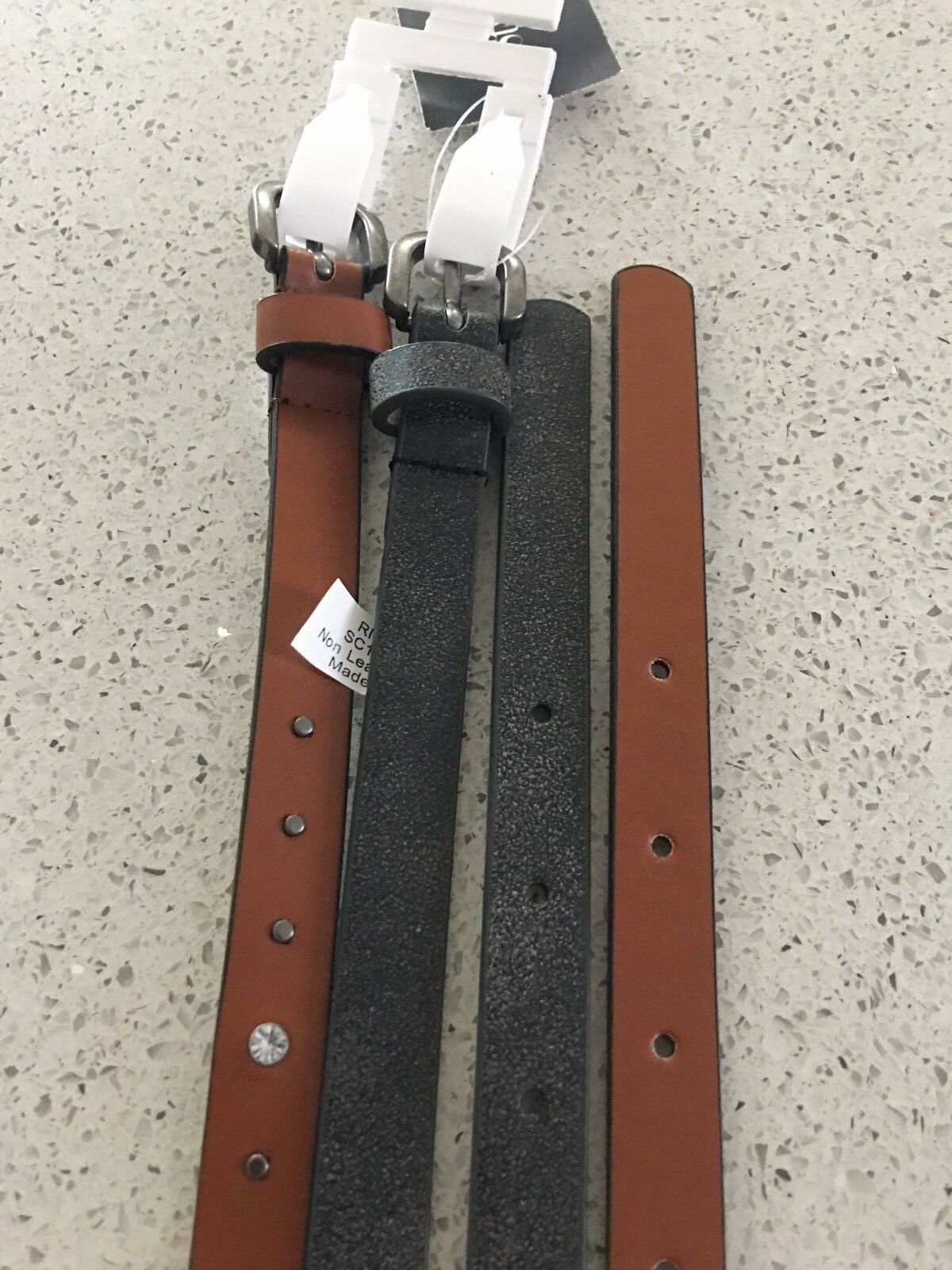(NWT) Style&Co Rhinestud 2 for 1 Skinny Belts Black & Cognac Sizes S/M/L/XL