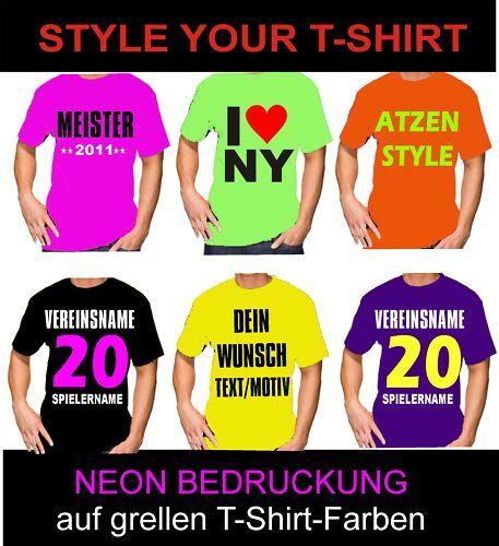 Grelles T-Shirt mit NEON Wunschdruck
