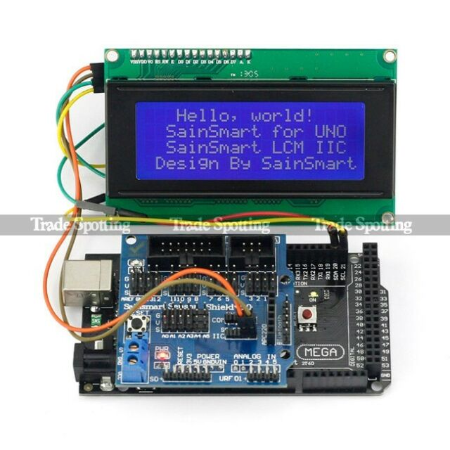 New SainSmart Mega2560 R3 + Sensor Shield V5 + IIC LCD 2004 Kit For Arduino