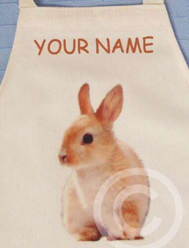 CREAM NATURAL COTTON DRILL APRON RABBIT Bunny PERSONALISED