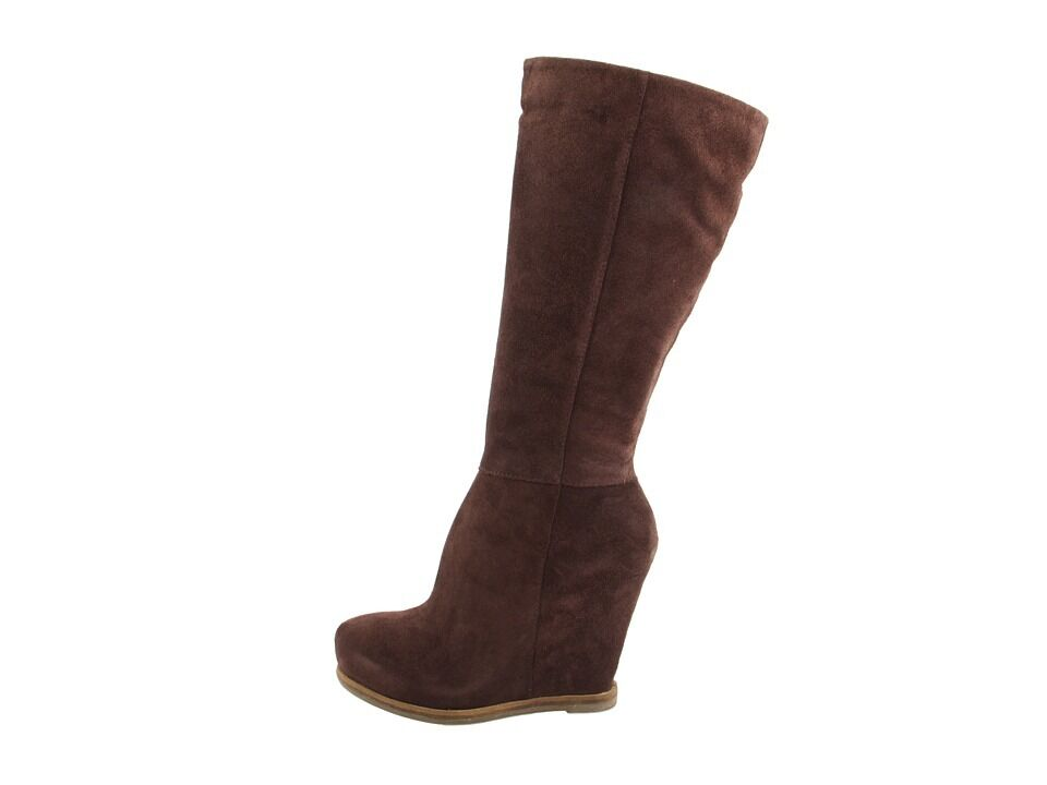 NEW LUCKY JENINE BROWN SUEDE BOOTS WOMENS 10 TALL HIGH W  WEDGE HEEL