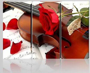 Quadro moderno tela arredo casa music passion red violino rosa