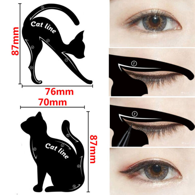 2pcs ladies cat line pro eye makeup tool eyeliner stencils template