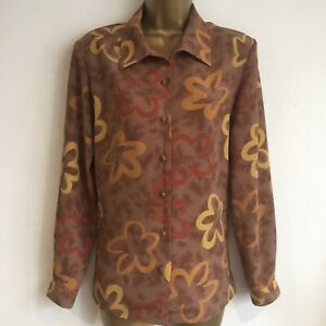 Yellow Brown Stunning Orange Mocha Size 12 Ladies Casuals Blouse Country aO67v